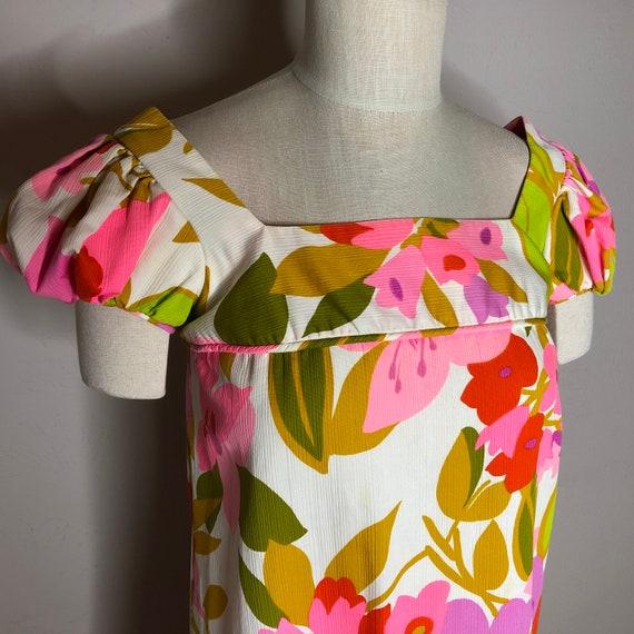Vtg Malia Honolulu Maxi Dress Puffed Sleeves - image 5