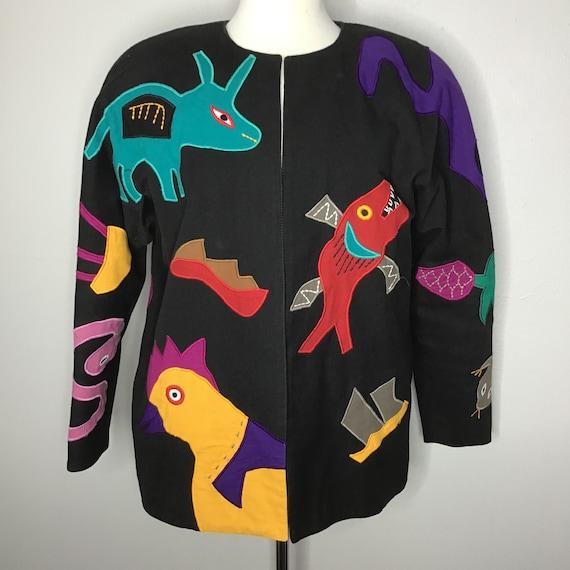 Vtg Mexican Designer Girasol Folk Art Jacket Appli