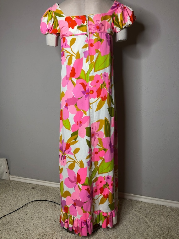 Vtg Malia Honolulu Maxi Dress Puffed Sleeves - image 2