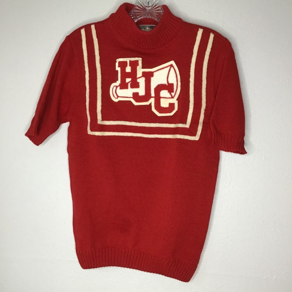 Vtg Kandel Knitting Mills Red Wool Cheerleader Swe