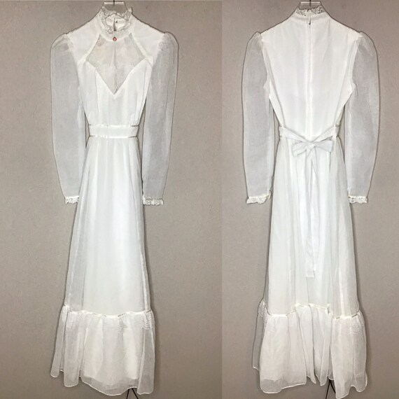 Vintage Candi Jones White Maxi Dress Edwardian Vic