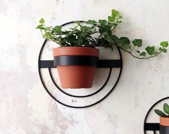 1 Wall Planter, Round Metal Planter, Black Hanging Planter, Metal Wall Planter, Plant Holder