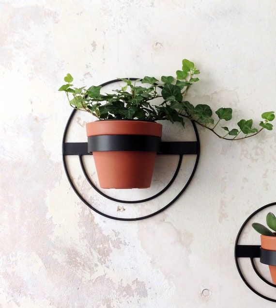 1 Wall Planter Round Metal Planter Black Hanging Planter Etsy