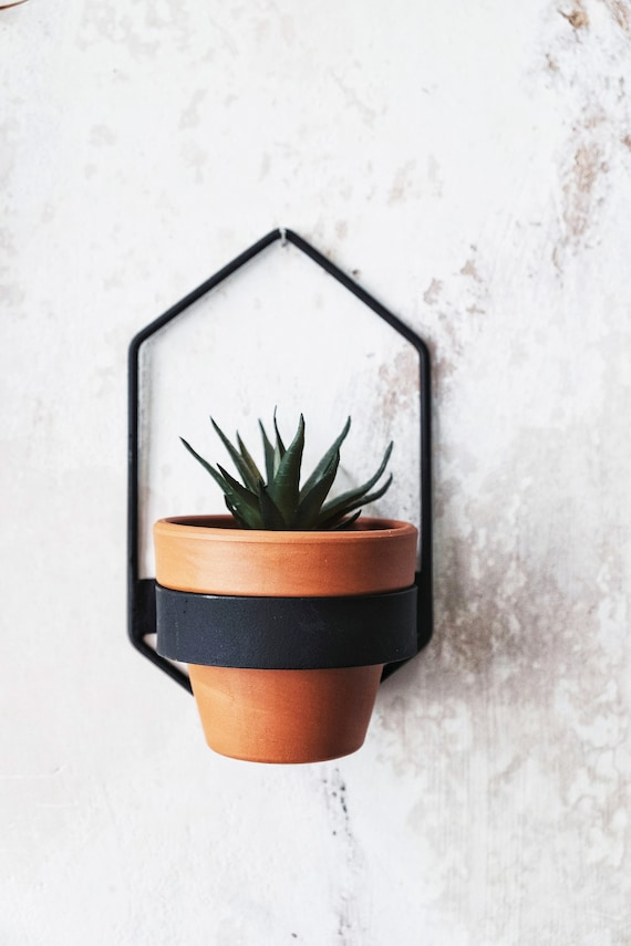 2 Wall Planters Geometric Shape Planter Black Hanging Etsy