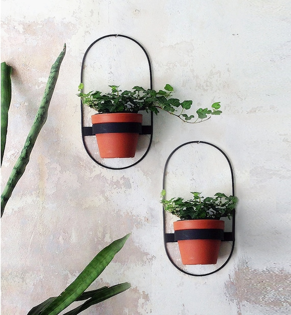 2 Big Wall Planters Geometric Shape Planter Black Hanging Etsy