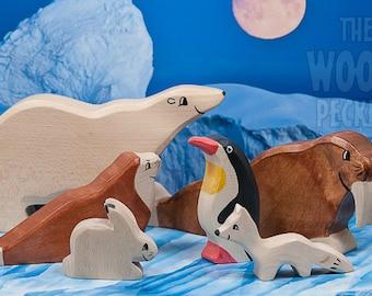 Wooden arctic animals toys, Polar animals set