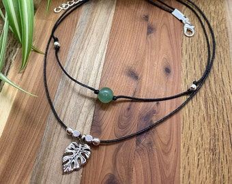Monstera Leaf Plant Lover Healing Crystal Double Wrapped Choker Necklace!