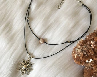 Sun Charm & Healing Crystal Double Wrapped Choker Necklace!