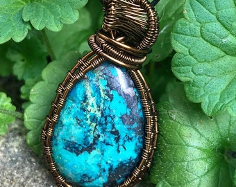 Chrysocolla Copper Wire Wrapped Necklace/Pendant!