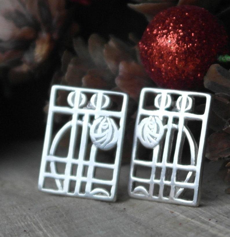 Vintage Scottish Sterling Silver Carrick Jewellers Limited Rennie Mackentosh Glasgow Rose Stud Earrings