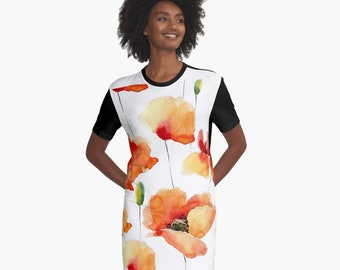 33a3eedbc249 Flowy floral T Shirt Dress Flowy rose t dress flowy graphic
