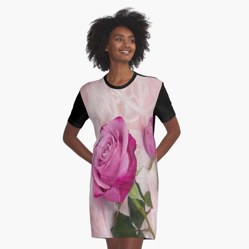 Flowy Floral T Shirt Dress Flowy Rose T Dress Flowy Graphic Etsy