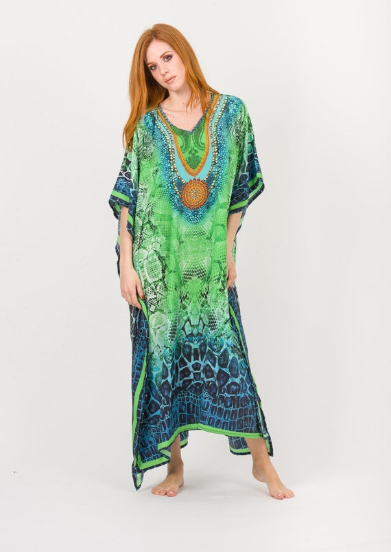 Digital Print embellished Kaftan,Sheer or non-Sheer Caftan,Hippie Dress,Tunic,Free Size Pregnancy Dress,Beach Cover Up,Beach Wear,Boho Dress