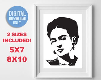 Frida Kahlo Black and White Portrait Print Wall Art Digital Printable Instant Download 5x7 8x10 DIY