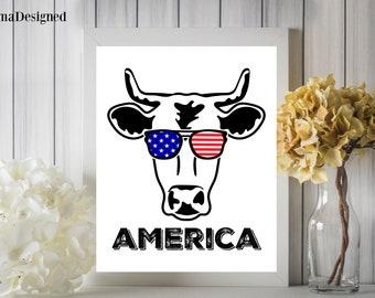 America Cow Head Digital Printable 8x10