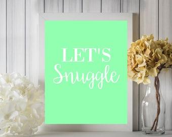 Let's Snuggle Pastel Spring Digital Printable Wall Art Decor 8x10