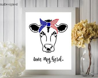 Love My Herd Cow Head Digital Printable 8x10