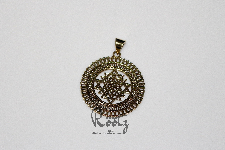 Röötz - Sri Yantra Pendant, Tribal Brass Pendant, Sacred Geometry  Jewellery, Indian Pendant, Tribal Jewellery, Yoga Jewelry,brass necklace