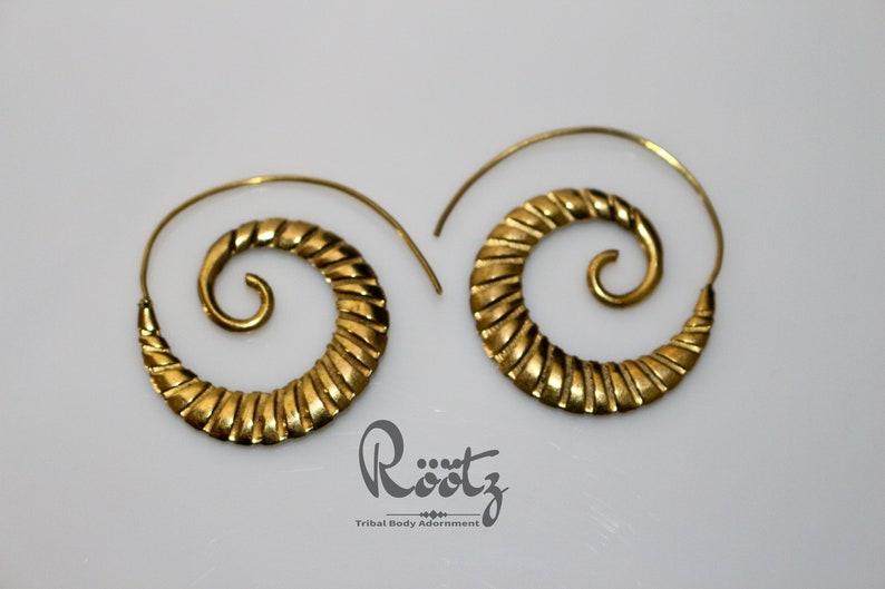 e2b9dd7fb21b6 Röötz - Brass Spiral Earrings, Brass Earrings, Gold Earrings, Boho  Earrings, Tribal Earrings, Ethnic Jewellery, Brass Jewellery ,Gypsy