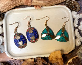 Röötz - Mosaic earrings, Tile earrings, Bohemian earrings, Ethnic earrings, Boho earrings, Tribal earrings, hooks,Gypsy chic ,DaintyEarrings