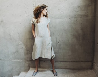 Pure Linen Dress Motumo With Asymmetric Skirt - 14S17