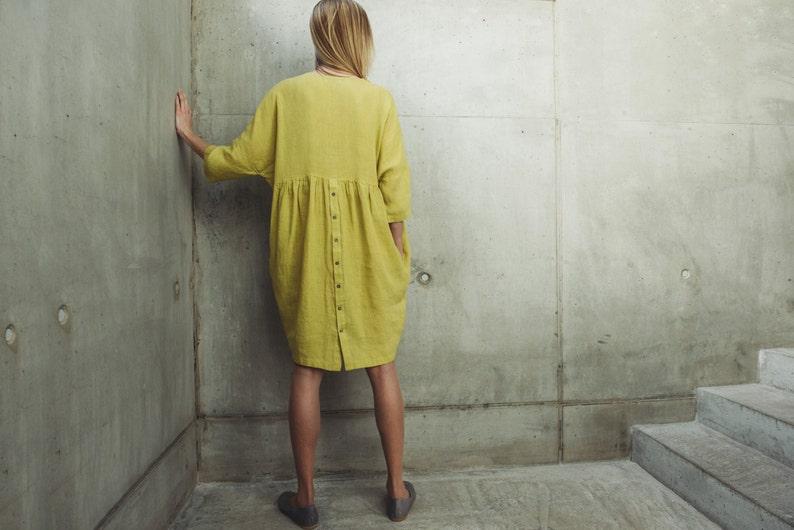 Linen Dress Motumo With Pockets 14S8  Summer linen dress  Washed linen dress  Soft linen dress  Linen clothes