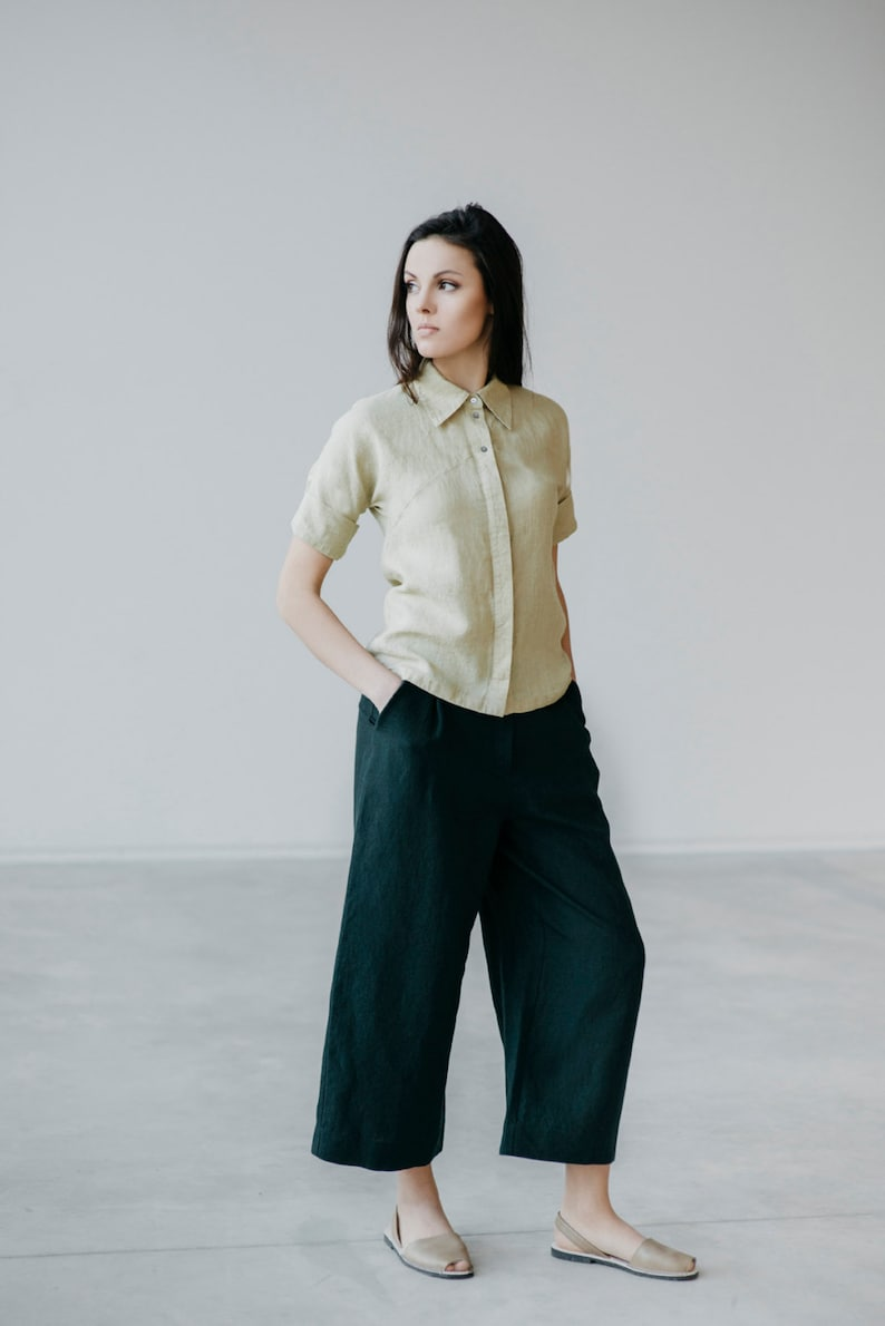 Please contact us for other choices. Wide Cut Linen Pants Motumo 15K1 We are very sorry-we finished the original color at the moment