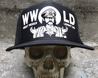 What Would Lemmy Do Hat Screened on Mesh back Otto cap hat wwld by Seven 13 Productions