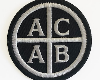 """Embroidered 2.5"""" ACAB punk rock patch Iron On A.C.A.B. by Seven 13 Productions"""