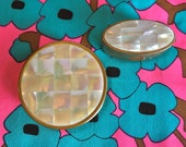 MAX FACTOR Set of 2 Vintage 1960s Mother of Pearl Inlaid Abalone Powder Lipstick Mirror Compact