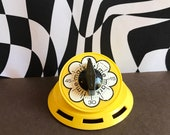 Vintage 1970s FLOWER POWER Yellow Time Mark Kitchen Tick Tick Ding TIMER Works