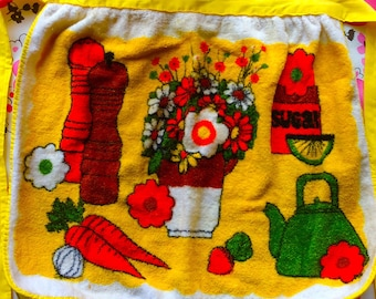Vintage 1960s PSYCHEDELIC FLOWER POWER Terry Cloth Apron