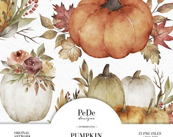 BUY 3 PAY FOR 2, Watercolor pumpkin arrangement clip art, autumn cliparts, fall leaves, planner stickers, thanksgiving clipart, download