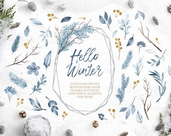 BUY 3 PAY FOR 2, Hello Winter collection, christmas clipart, winter foliage, frames, wreaths, winter clip art, digital papers, download