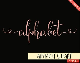 BUY 3 PAY FOR 2, Rose gold glitter alphabet clip art, rose gold swatches, alternative letters, hearts, sparkle digital alphabet, download
