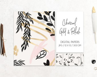 BUY 3 PAY FOR 2, Charcoal, Gold & Blush Collection, digital papers, floral pattern, abstract design, floral, hand drawn pattern, download