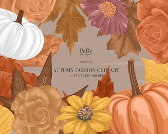 BUY 3 PAY FOR 2, Autumn Clip Art, individual elements, floral illustration, planner stickers, instagram highlight cover, leaves, download