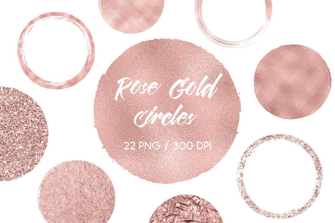 Rose gold circles clipart rose gold design elements rose