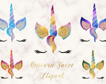 Unicorn Faces Clipart rainbow pink and gold watercolor