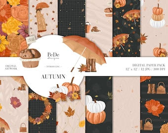 BUY 3 PAY FOR 2, Autumn, fall digital paper pack, planner supplies, pumpkin patterns, leaves confetti, autumn background, pumpkin, download