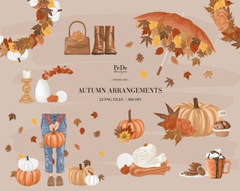 BUY 3 PAY FOR 2, Autumn Clip Art, fall arrangements, floral illustration, planner stickers, instagram highlight cover, fashion, download