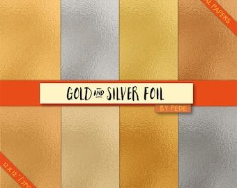 BUY 3 PAY FOR 2, Foil digital paper pack, gold foil papers, foil background, silver foil, gold foil texture, rose foil, printable, download