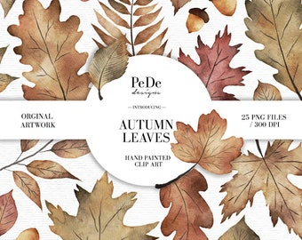 BUY 3 PAY FOR 2, Watercolor autumn leaves clip art pack, autumn cliparts, forest illustartions, planner stickers, botanical, download