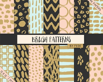 BUY 3 PAY FOR 2, Brush patterns digital paper pack, brush marks digital papers, hand painted, chevron, stripes, confetti, spots, download