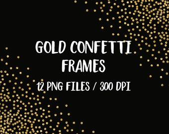BUY 3 PAY FOR 2, Gold glitter frames clipart, digital glitter frames, golden confetti, sparkly dots frame clipart, borders, download