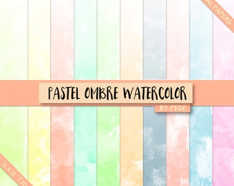 BUY 3 PAY FOR 2, Pastel ombre watercolor digital paper pack, watercolor backgrounds, blue, coral, mint, pink, gradient, printable, download