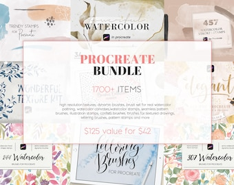1700+ Procreate Bundle, big procreate pack, procreate brushes, watercolor stamps, textured, geometric brushes, luxury textures, download
