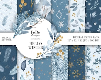 BUY 3 PAY FOR 2, Hello Winter, winter digital paper pack, watercolor, winter patterns, gold snowflakes, christmas background, download