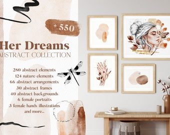 BUY 3 PAY FOR 2, Her Dreams Abstract Collection, abstract bundle, female portrait, abstract shapes, frames, backgrounds, floral, download