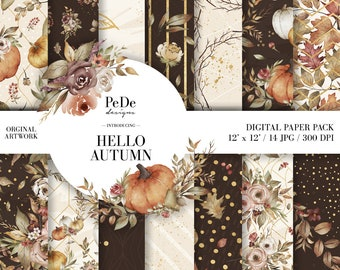 BUY 3 PAY FOR 2, Hello Autumn, autumn digital paper pack, planner supplies, pumpkin patterns, gold confetti, fall background, download